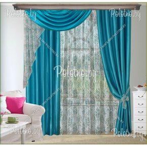 Комплект готовых штор в спальню и гостиную Овация — 2.6 бирюза