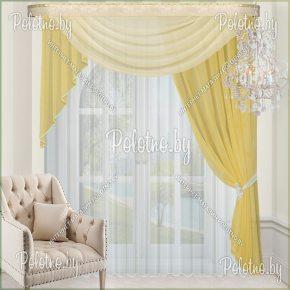 Готовые занавески из вуали жёлтого цвета
