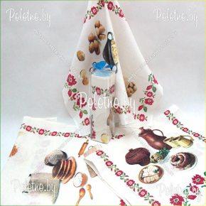 Льняной набор полотенец Белорусская кухня в тубусе арт. 09с522