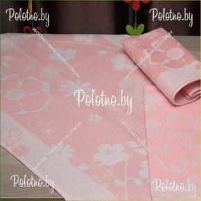 Полотенце кухонное льняное  Екатерина цвет персиковый
