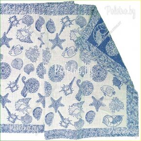 Банное полотенце льняное Море синее арт. 17С125
