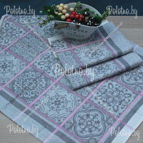 Льняное полотенце для кухни Изразцы