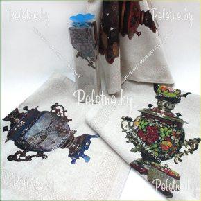 Льняной набор полотенец Самовары в тубусе арт. 17с445