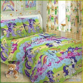 Комплект детский полуторный постельного белья Пони поплин