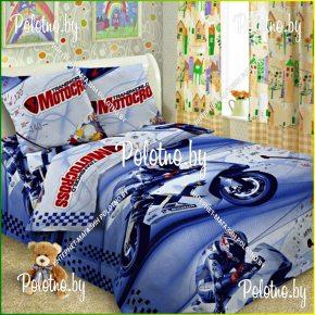 Детский полуторный комплект постельного белья Мотоциклы 1.5 поплин
