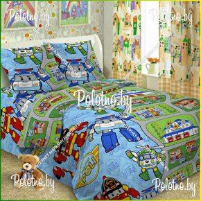 Детский полуторный комплект постельного белья Поли-роботы 1.5 поплин