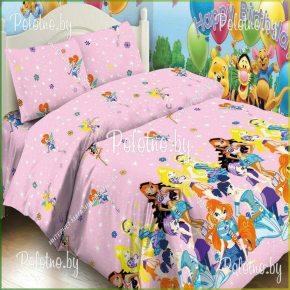 Комплект детский полуторный постельного белья Винкс поплин