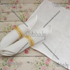Льняная сервировочная салфетка белого цвета