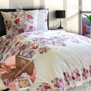 Полуторный комплект Цветочный вихрь сатиновое постельное белье