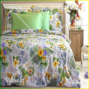 Сатиновый комплект постельного белья «Шик» зеленого цвета