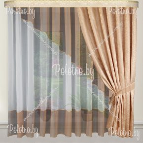 Готовые шторы для кухни Дина какао