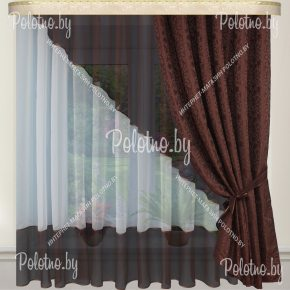 Готовые шторы для кухни Дина венге