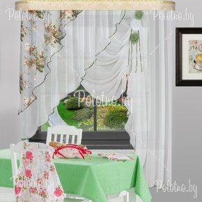 Готовые шторы для кухни Француженка зелёный