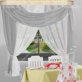 Готовые кухонные шторы Мелиса серый