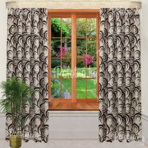 Комплект готовых штор в спальню и гостиную Круги черно-серые