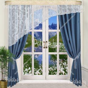 Комплект готовых штор в спальню и гостиную Альфа — 2.5 синий