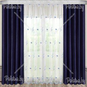 Комплект готовых штор Анастасия — 2.5 темно синий