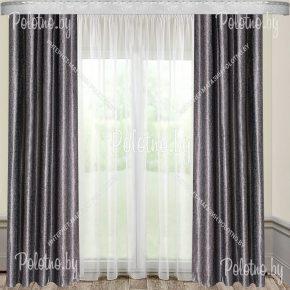 Готовые шторы серо-черного цвета на ленте