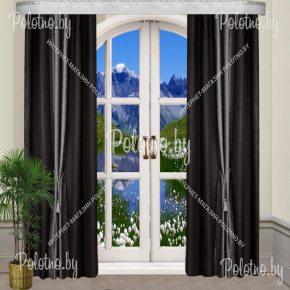 Комплект готовых штор в спальню и гостиную Дуэт — 2.5 черно-серый