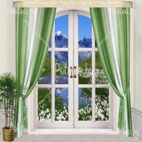 Комплект готовых штор в спальню и гостиную Дуэт — 2.5 бело-зеленый