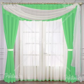 Комплект готовых штор в спальню и гостиную Лира — 2.5 салатовая