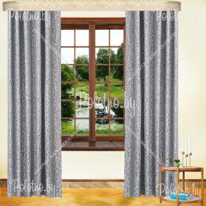 Комплект готовых штор в спальню и гостиную Мантана — 2.5 серый