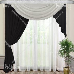 Комплект готовых штор Веста — 2.5 черно-серая