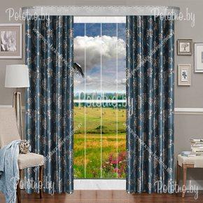 Комплект готовых штор в спальню и гостиную Виконт — 2.6 серо-синий