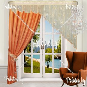 Готовые шторы Альфа морковного цвета