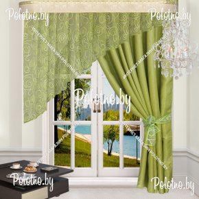 Комплект готовых штор в спальню и гостиную Альфа — 2.5 салатовый