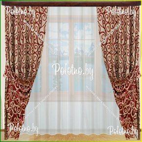 Комплект готовых штор в спальню и гостиную Оптима — 2.5 красный завиток