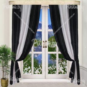 Комплект готовых штор в спальню и гостиную Дуэт — 2.5 черно-белый