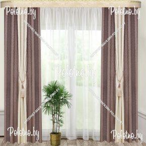 Комплект готовых штор в спальню и гостиную Дуэт — 2.6 серо-бежевый