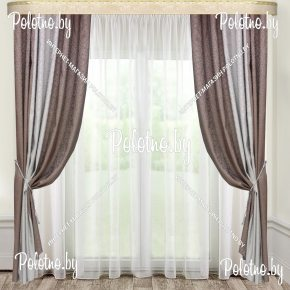 Комплект готовых штор в спальню и гостиную Дуэт — 2.5 серо-бежевый