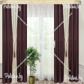 Комплект готовых штор в спальню и гостиную Дуэт — 2.5 сливовый