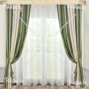 Комплект готовых штор в спальню и гостиную Дуэт — 2.5 бледно-зеленый