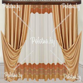 Комплект готовых штор в спальню и гостиную Эмили — 2.5 золото