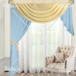 Готовые занавески голубого цвета на высоту потолка 250