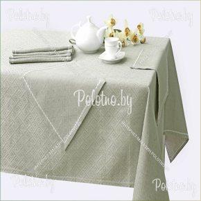 Льняной комплект столовый Лабиринт 150х250 с салфетками