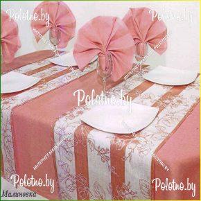 Льняной столовый набор кружево-3 (пепельно-розовый цвет)