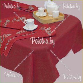 Льняной столовый набор Кассандра 143х120 бордовый