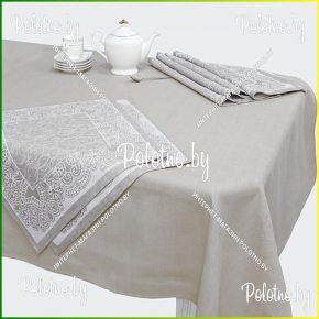 Льняная сервировочная скатерть и салфетки милан на 6 персон