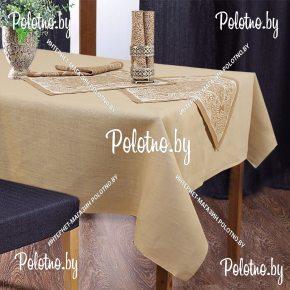 Льняная сервировочная скатерть и салфетки милан на 6 персон арт.15с303