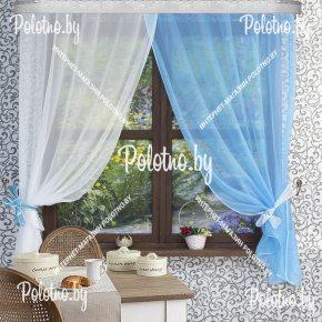 Готовый комплект кухонных штор Дарья бело-голубого цвета
