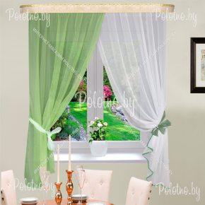 Комплект кухонных штор зелёного цвета Дарья арт. ДР-ЗЛ8