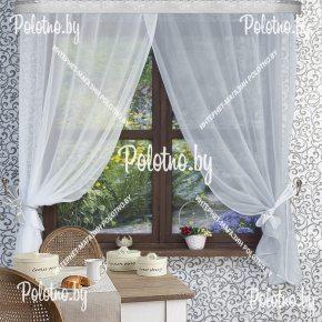 Готовый комплект кухонных штор Дарья бело-серого цвета