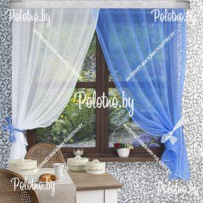Готовый комплект кухонных штор Дарья бело-синего цвета