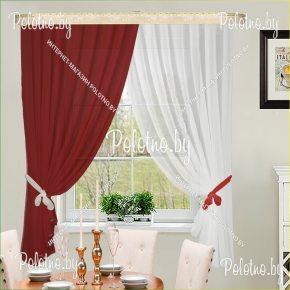Готовый комплект кухонных штор Дарья красный