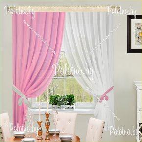 Готовый комплект кухонных штор розового цвета ДР-РОЗ8