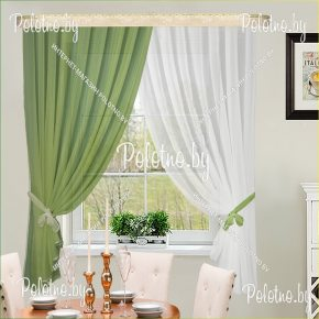 Готовый комплект кухонных штор Дарья зелёный